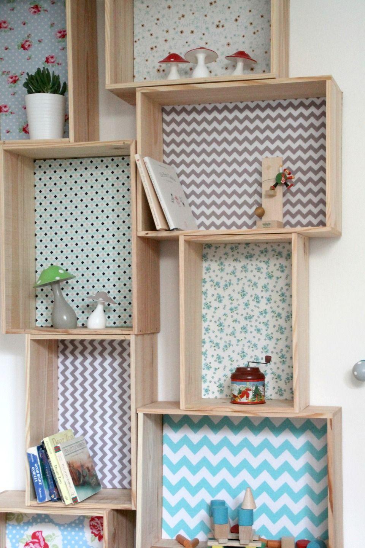 etag re caisse d corative en bois et tissu fleurs des champs bleu l home ideas. Black Bedroom Furniture Sets. Home Design Ideas