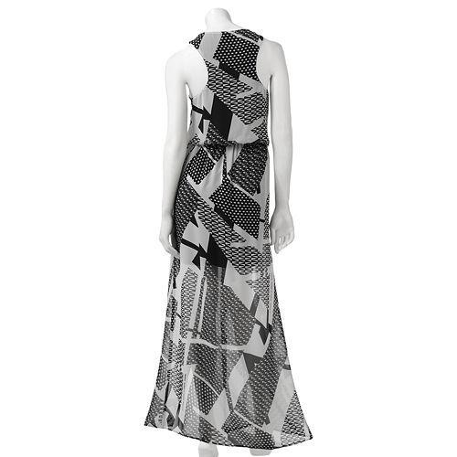 1ac28c46bc7 Juniors  City Triangles Chiffon Double Slit Maxi Dress