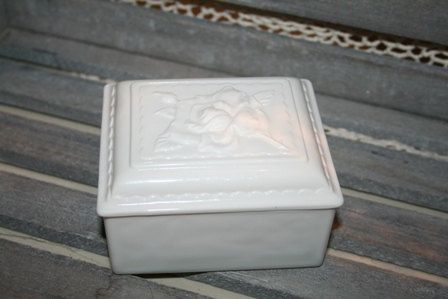 Gorgeous Fire King Ivory Cigarette/Trinket Box with Rose Lid, Vitrock by UdellLane on Etsy