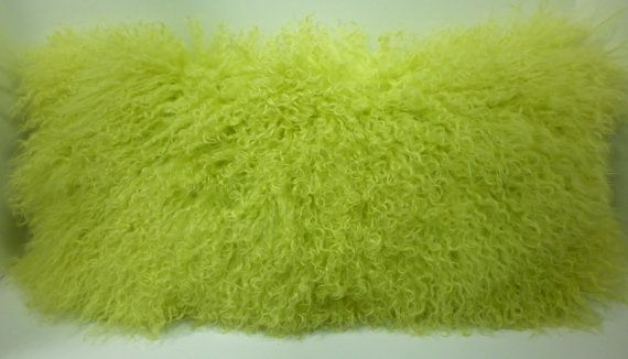 Lemon Lime Mongolian  Lamb fur Pillow  Tibet new made in usa authentic cushion