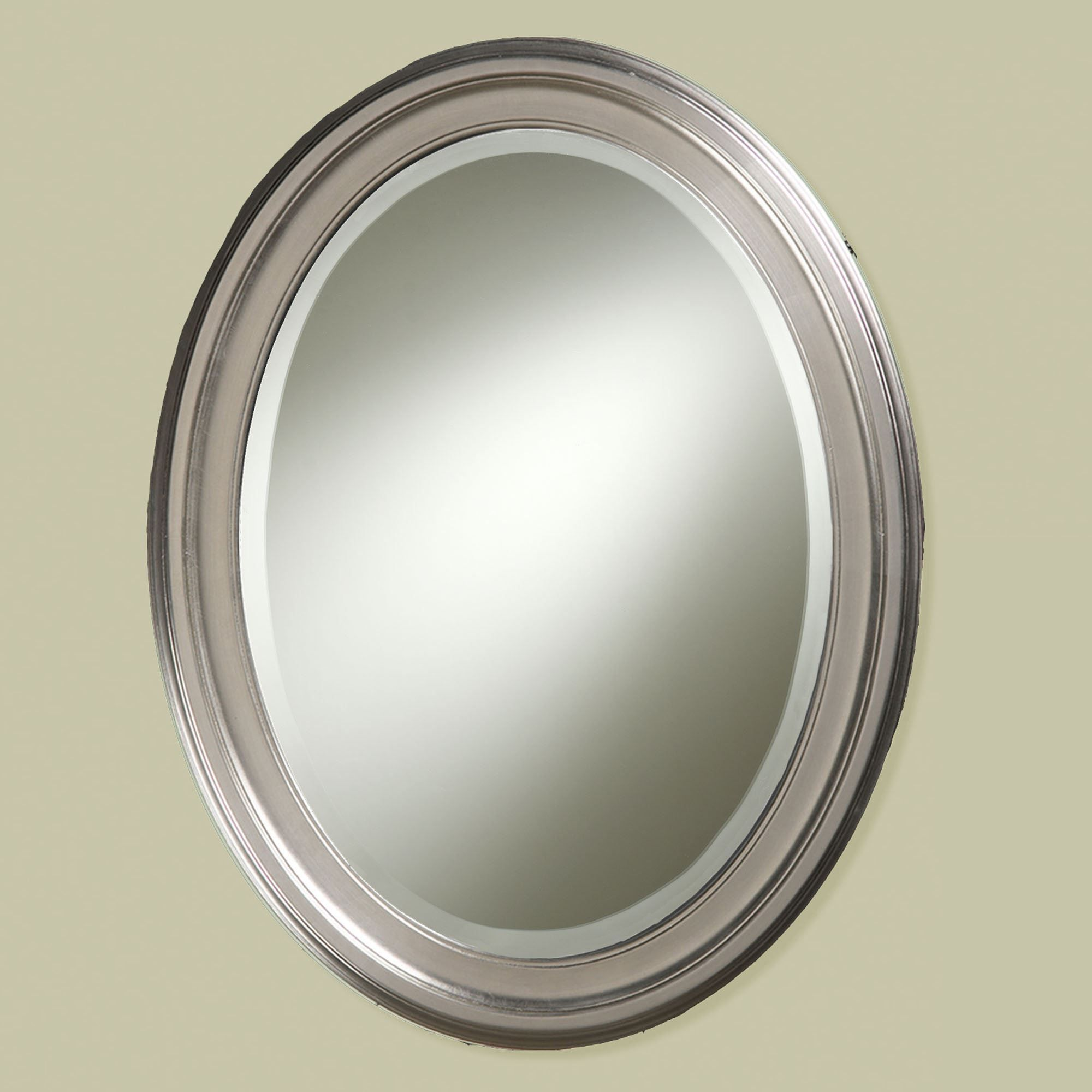 Superbe Loree Brushed Nickel Finish Oval Wall Mirror