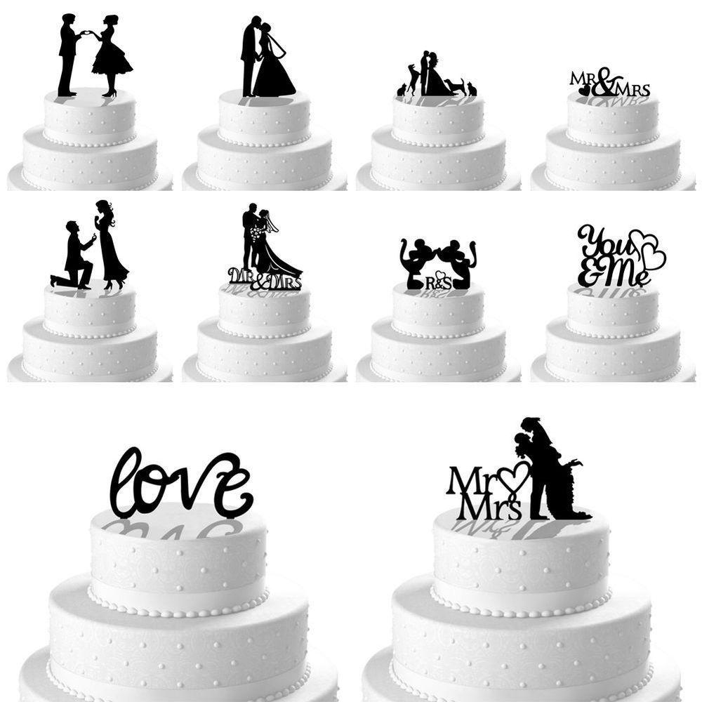 New Romantic Mr Mrs Heart Wedding Cake Topper Decor Bride Groom ...