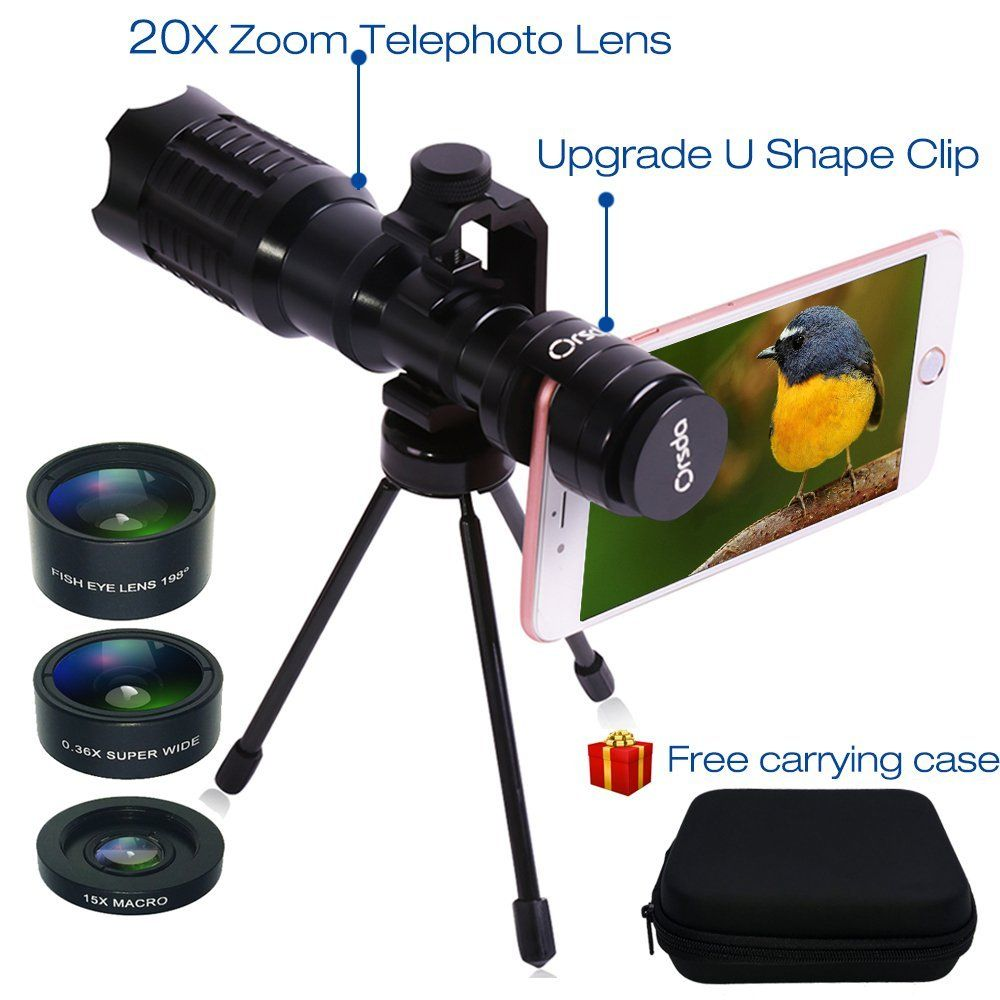 Amazon com: Huatop HD Phone Camera Lens Kit, 20X Telephoto Lens +