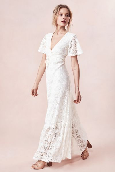 White Flutter Sleeve Maxi Dress