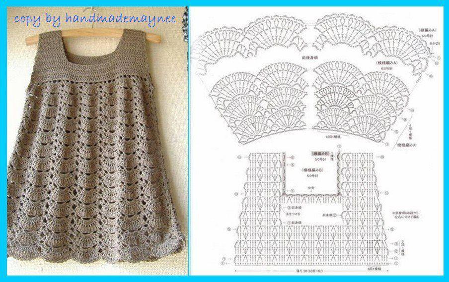 Vestido | Crochet | Pinterest | Vestiditos, Tejido y Ganchillo