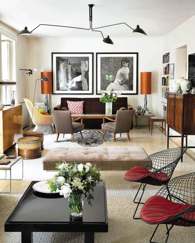 Vintage Style living room from Architectural Digest Spain - wohnzimmer retro style