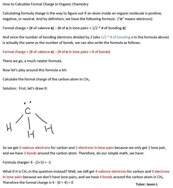 How To Calculate Formal Charge Organic Molecules Organic Chem Chemistry