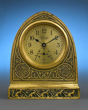 Tiffany Studios Venetian Desk Clock Circa 1915 Bronze Desk Clock In The Venetian Pattern Is A Shining Example Of The Tiffany St Clock Antique Clocks Desk Clock
