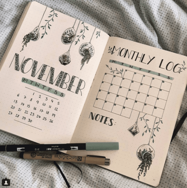 25 Houseplant Inspired Bullet Journal Layouts Bullet Journal Books Bullet Journal Cover Ideas Bullet Journal Ideas Pages