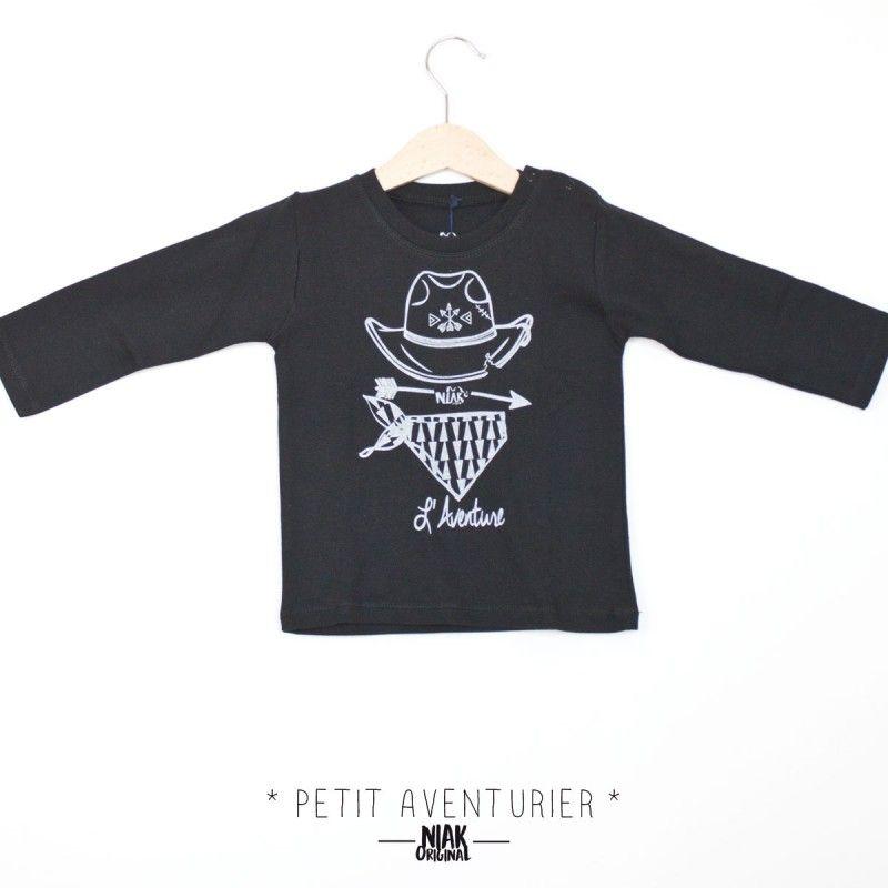 21a7d3cafd77b Petit t-shirt manches longue pour bébé en coton NOIR pour fillette ou  garçonnet