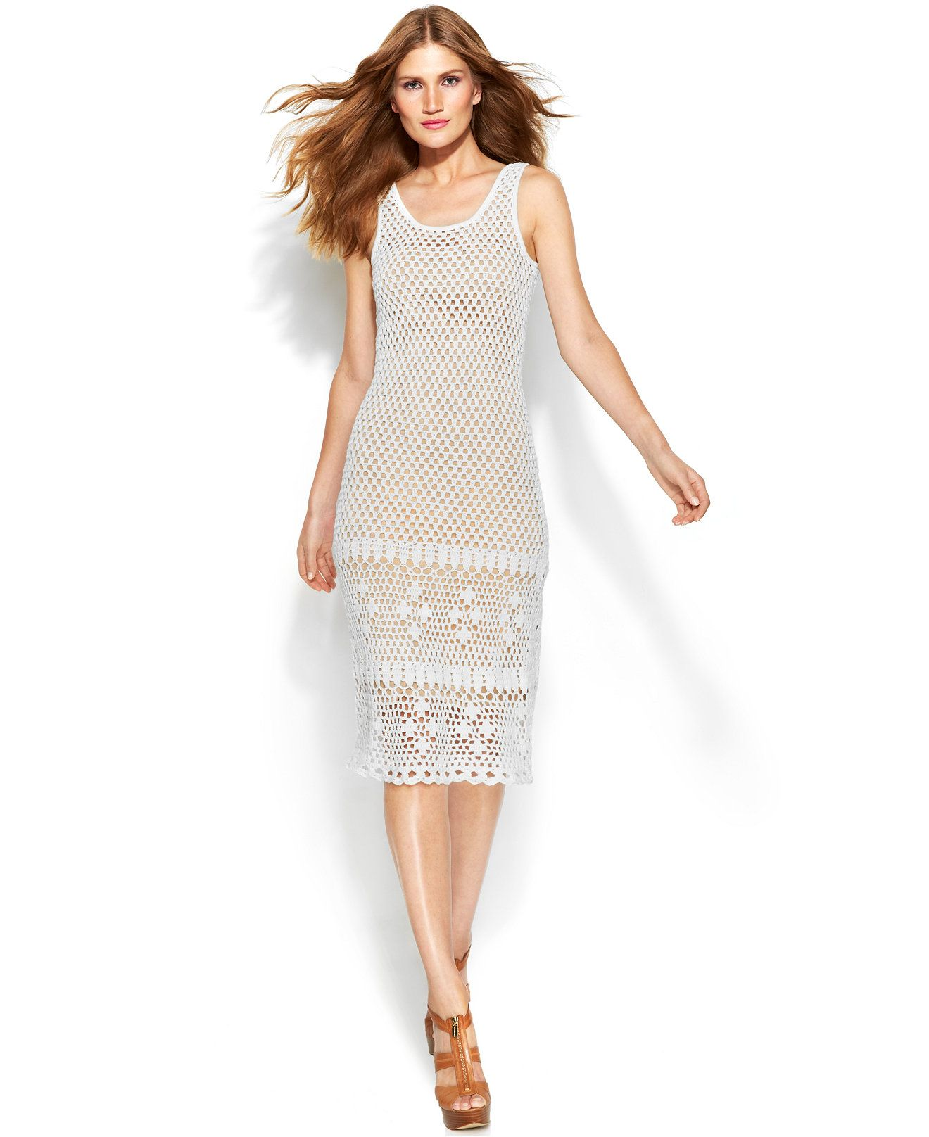 MICHAEL Michael Kors Sleeveless Crochet Midi Dress - Dresses - Women -  Macy's