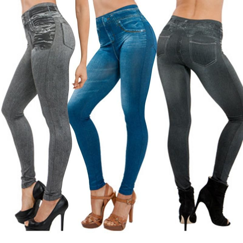 Womens Skinny Fitted Ladies Denim Stretch Jeggings Long Trousers Jeans Leggings