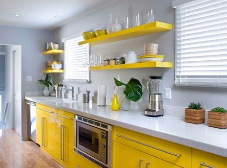 Cocina dise o minimalista amarilla ideas para el hogar for Muebles de cocina modernos pequenos