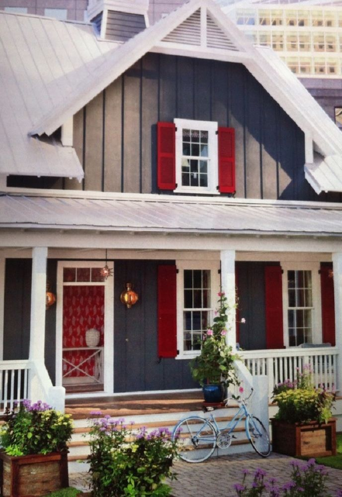 Charcoal Gray Amp White With Magenta Shutters Red House