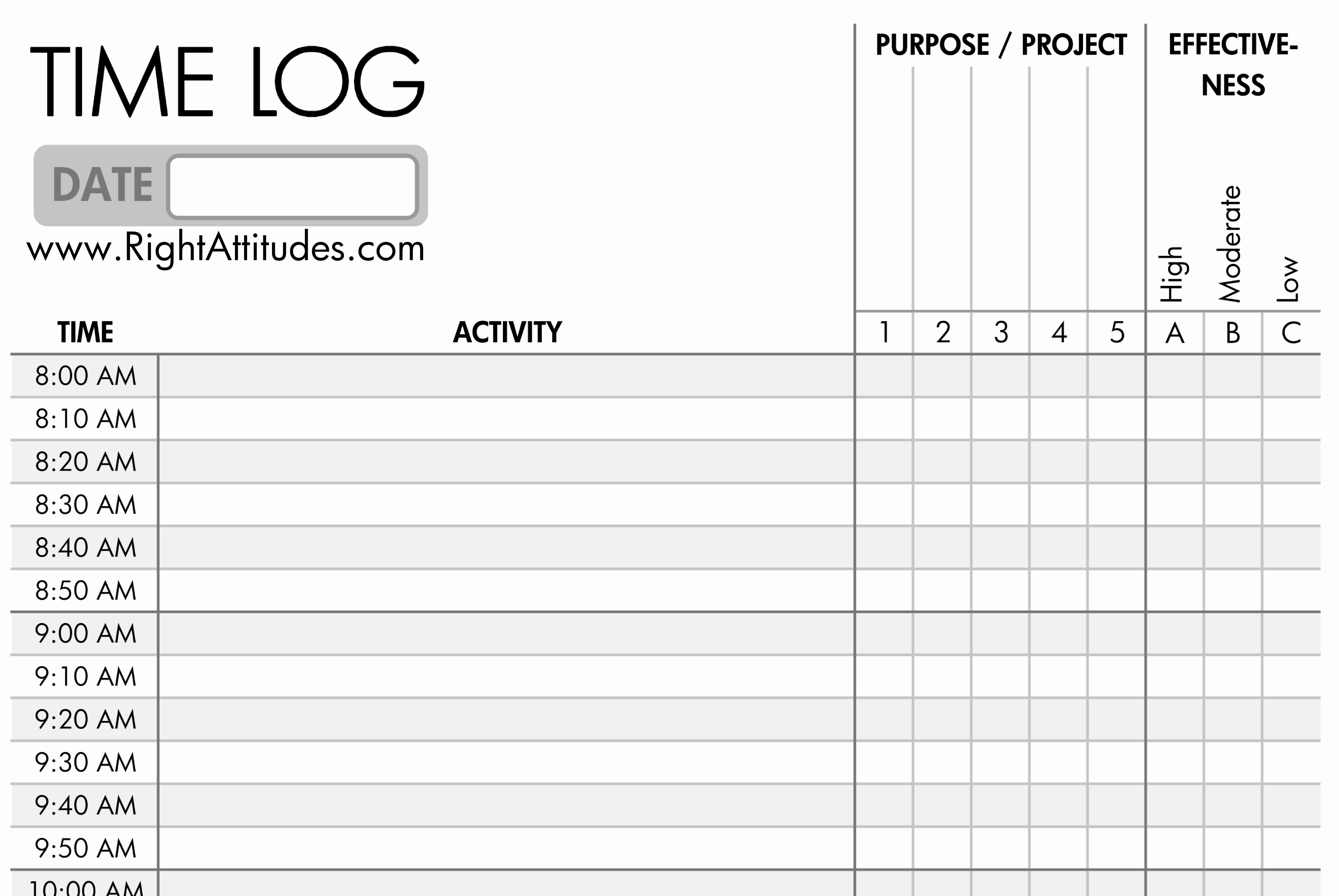Work Hour Sheet Fresh 7 Best Of Printable Daily Time Log Daily