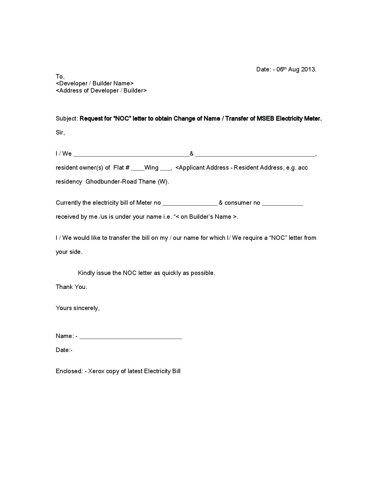 Noc Letter Format To Society Copy Letter Format Noc Request Travel