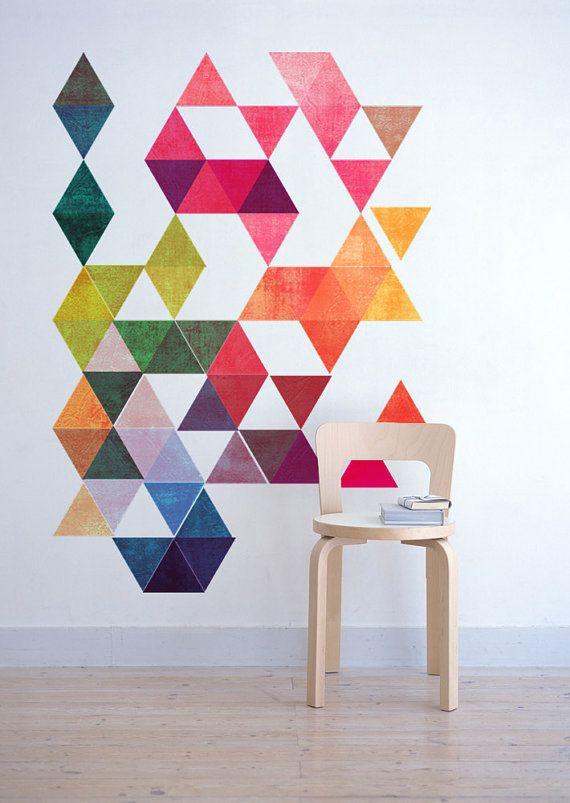 Mid Century Modern Danish Multi Colored Triangles Modern Minimalist