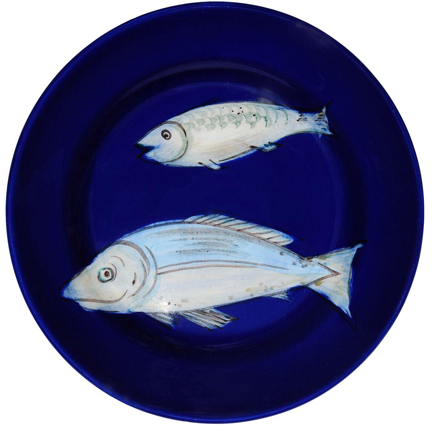 Set of 6 Blue Fish Dessert Plates - Shop timeless tableware handmade in Italy…