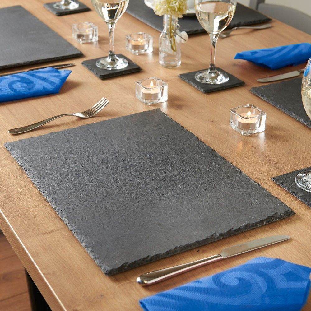 8 Piece Slate Grey Table Mats Coasters Coaster Set Dining Table Setting Open Plan Kitchen Living Room
