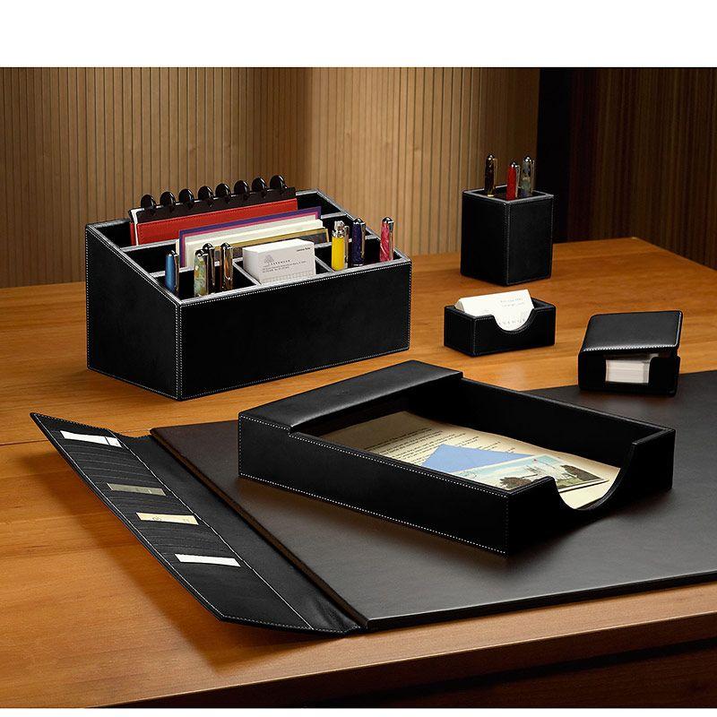 Kingfom Pu Leather Desk Organizer Office Accessories Collection Storage Box 3 Compartments Pen Pen Leather Desk Organizer Desk Organization Office Accessories