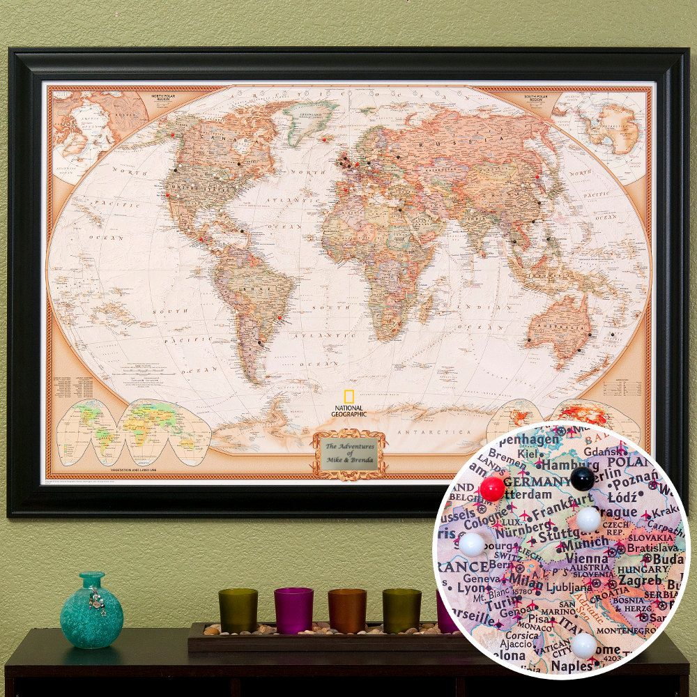 Personalized Executive World Travel Map With Pins And Frame Push - Travel wall map with pins