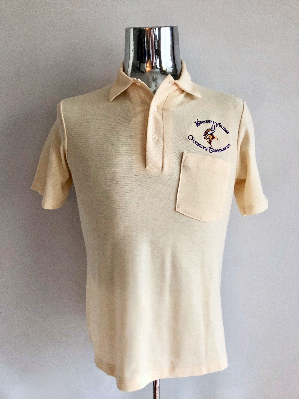 Vintage Mens 80s Minnesota Vikings Polo Shirt Pull Over Short