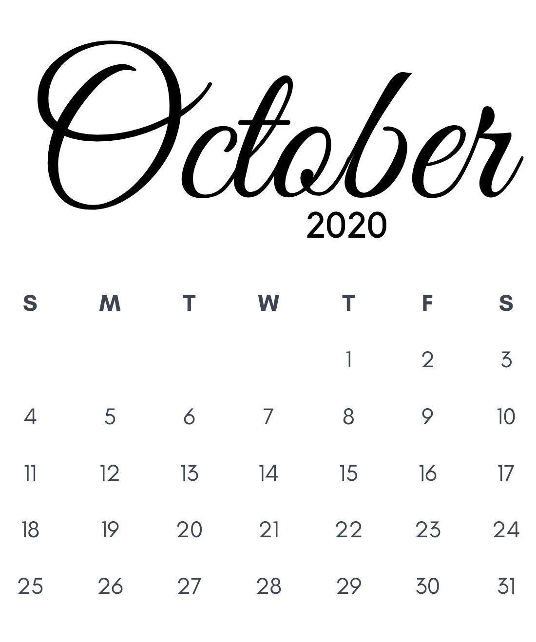 Free Calligraphy October 2020 Calendar in 2020