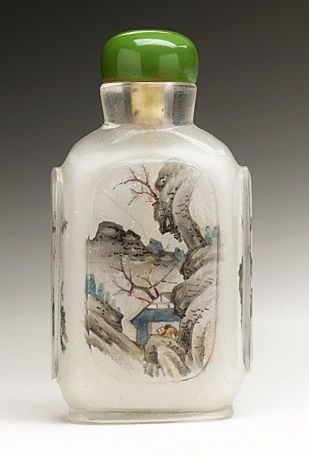 Snuff Bottle (Biyanhu) with Mountain Pavilions, China, Late Qing dynasty, about 1800-1911, Molded glass with inside painted decoration, with glass stopper