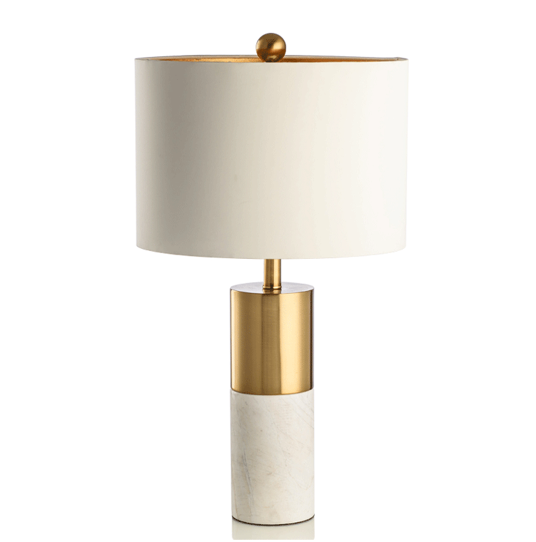 Contemporary Marble Gold White Lampshade Table Lamp Pillar Base White Lamp Shade Marble Table Lamp White Table Lamp