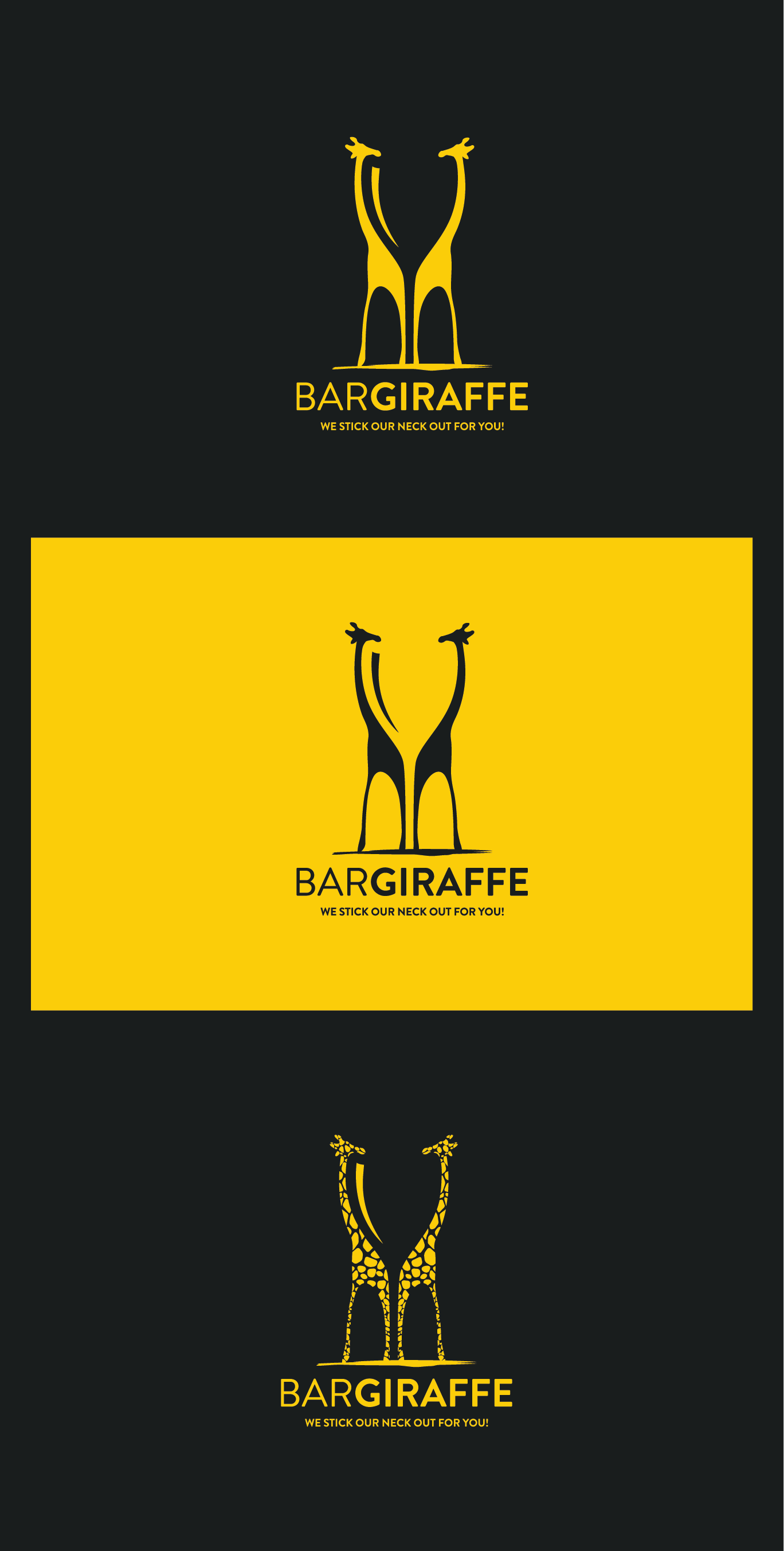 Negative space logo by Point.0 for BarGiraffe, a startup