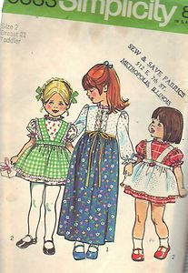 "Girls Party Dress 1970s Sewing Pattern Simplicity Size 2 Breast 21 Waist 20"" Cut 