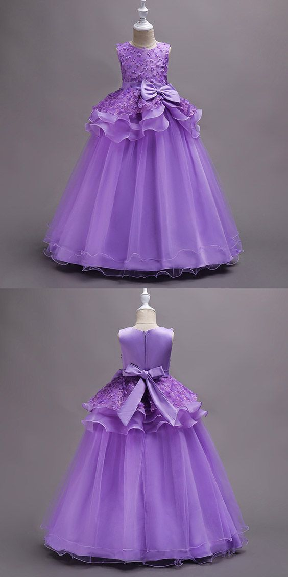 $39.9 Elegant Long Purple Flower Girl Dress With Floral Bodice #QX ...
