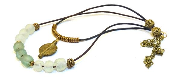 African trade bead necklace, double strand African beads and African brass on leather, African recycled glass beads. African beads