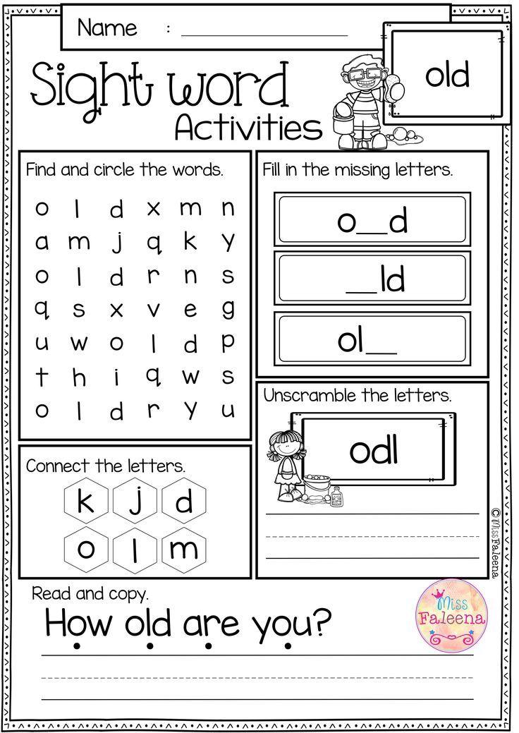 Free Sight Word Activities is perfect for preschool, kindergarten ...