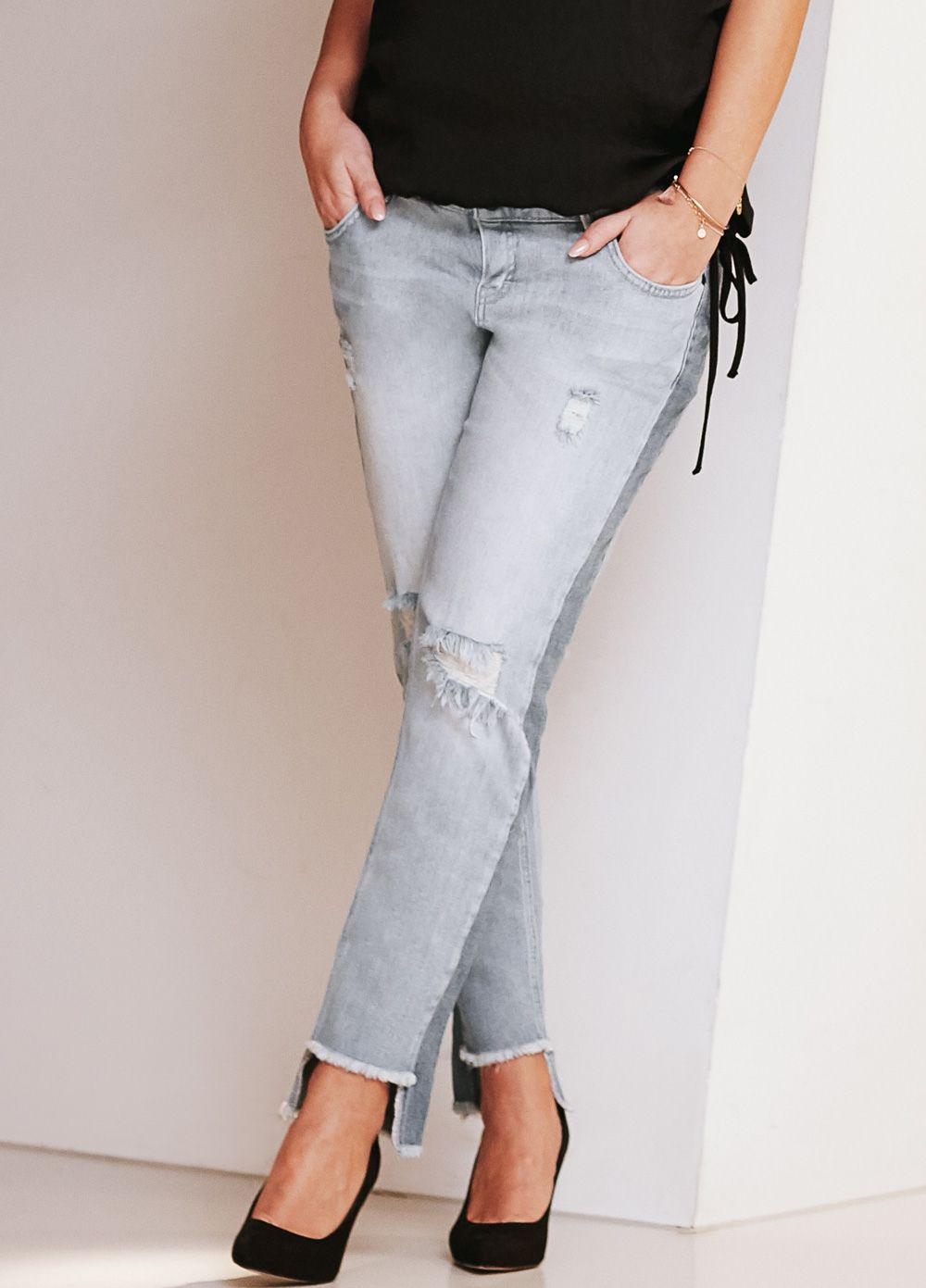 73c3090ce546d Supermom - Distressed Step Hem Boyfriend Jeans Boyfriend Fit Jeans, Supermom,  Maternity Jeans,