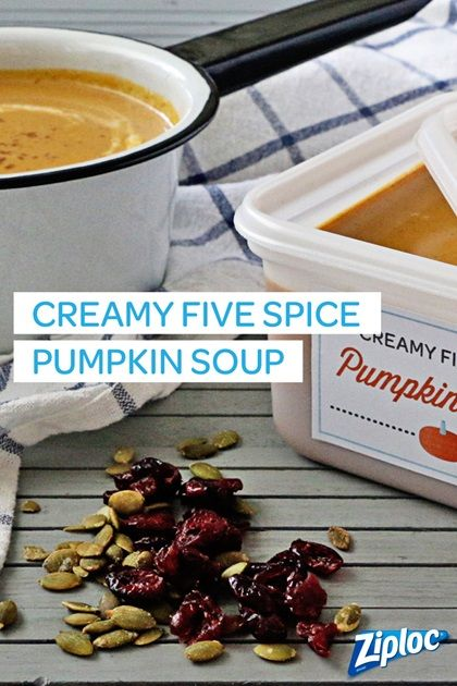 We love this creamy five spice pumpkin soup. So good!