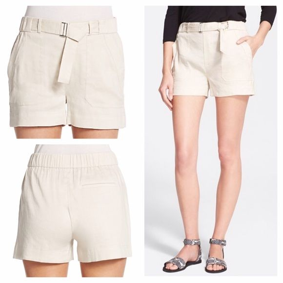 """NEW Vince belted linen-blend shorts Brand new Vince cream linen blend belted shorts.  Oversized patch pockets and a self-belted waist lend a utilitarian air to a pair of breezy linen-mélange shorts designed for stylish comfort in the warm summer months. 3"""" inseam; 24"""" leg opening; 11"""" front rise. Waist is elastic. Slip-on style; faux front fly. Front patch pockets; back welt pocket. 68% linen, 29% viscose, 3% elastane. Perfect for spring! Can be dressed up or down. Price firm. Vince Shorts"""