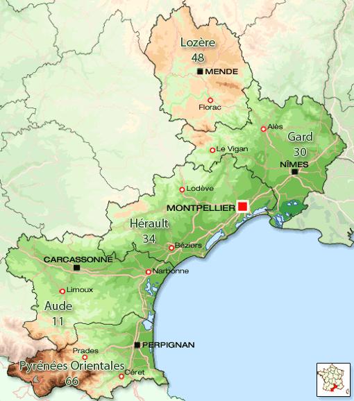 France LanguedocRoussillon Maps and tourist routes Pinterest
