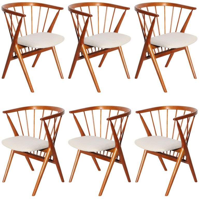 Set Of 6 Teak Spindle Back Round Chairs | 1stdibs.com. Round ChairModern Dining  Room ...