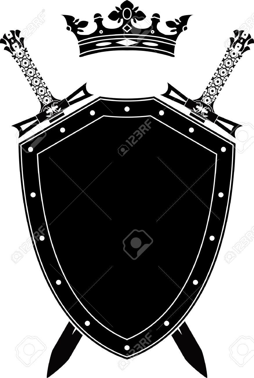 Shield Swords And Crown Stencil Vector Illustration Shield Tattoo Knight Shield Armor Of God Tattoo