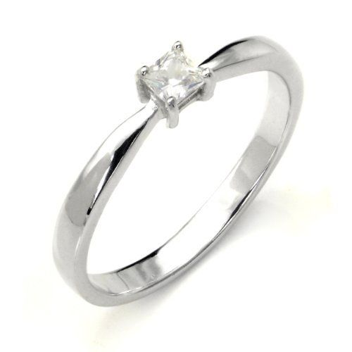 Sterling Silver Cubic Zirconia Solitaire 0.1 Carat tw Princess Cut CZ Engagement Ring, Nickel Free