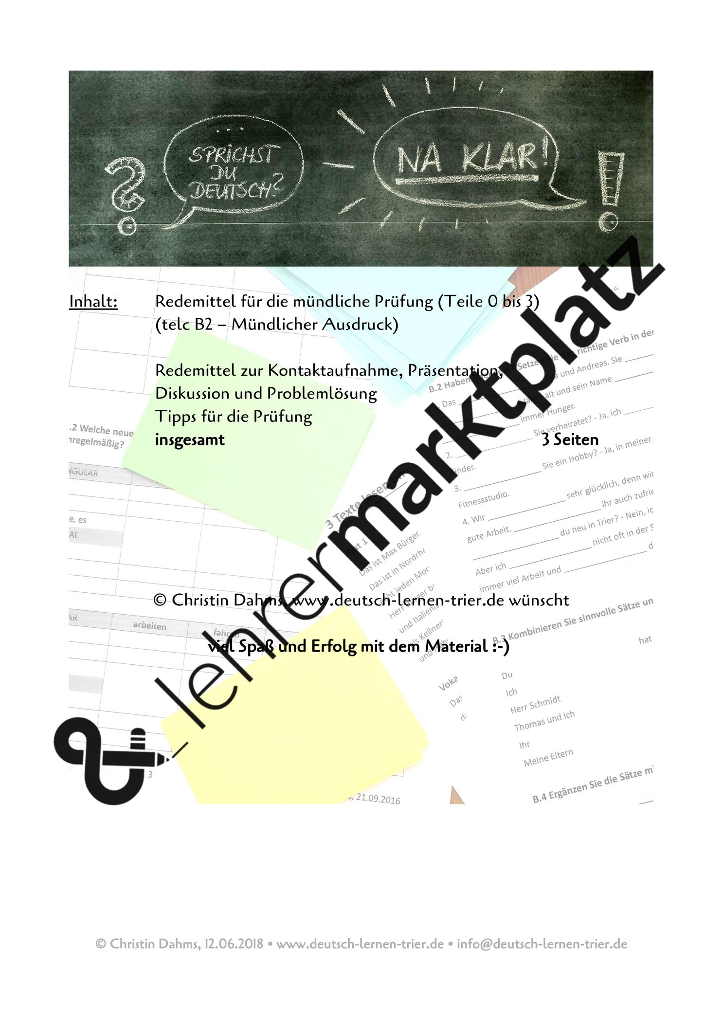 B2 Telc Mundlicher Ausdruck Redemittel Unterrichtsmaterial Im Fach Daz Daf Daf Unterrichtsmaterial Ausdrucke