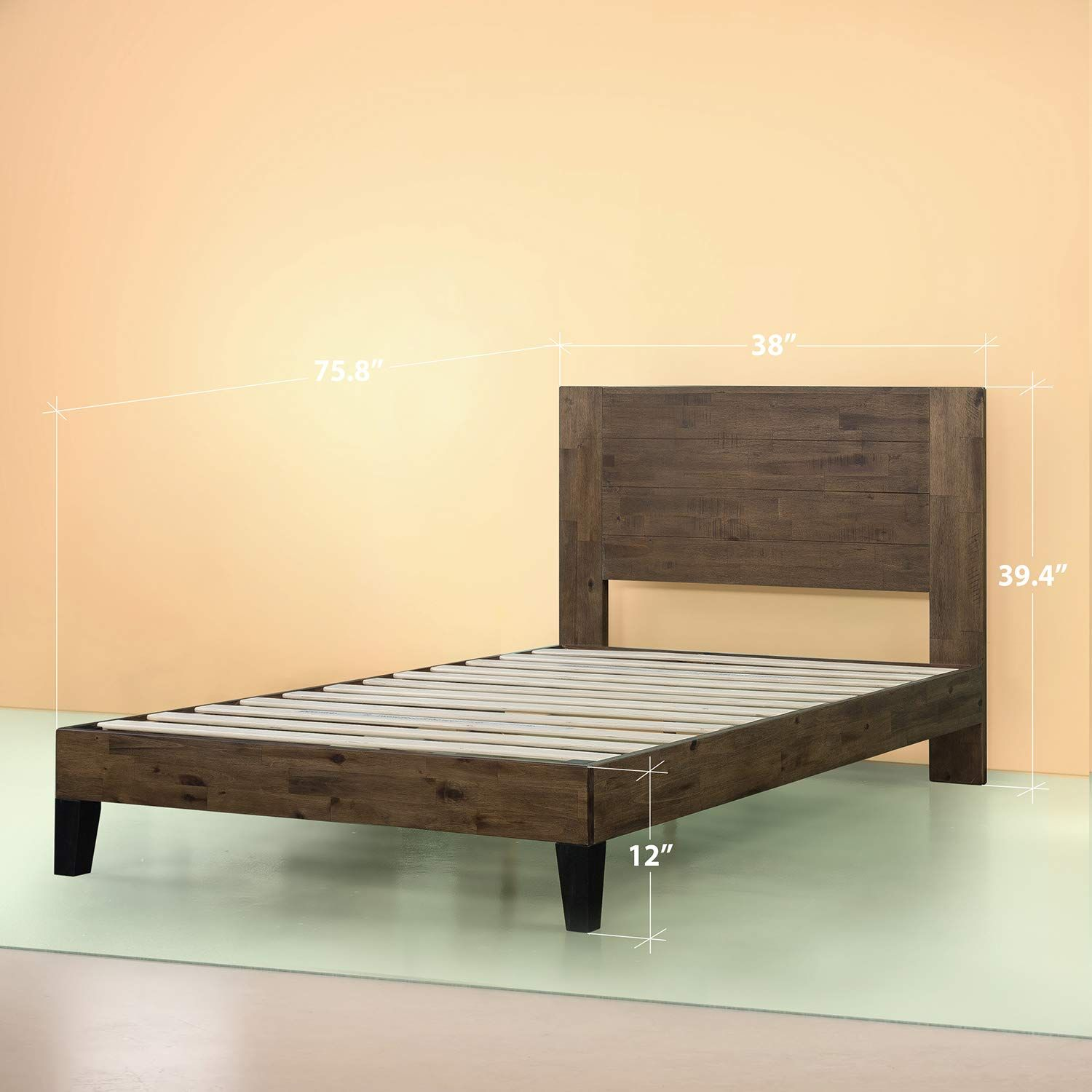 Amazon Com Zinus Swpbbhg 12t Tonja Platform Bed Twin Brown