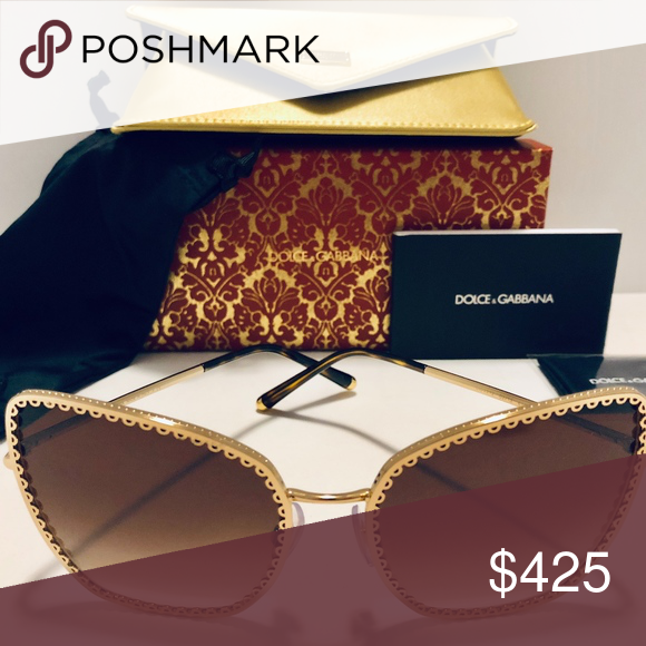 fc97304f749e Dolce   Gabbana Sunglasses Gold w Brown Gradient Brand New with Tags! 100%  Authentic! Dolce   Gabbana DG 2212 02 13 CUORE SACRO Cat Eye Gold Metal  Frame w  ...