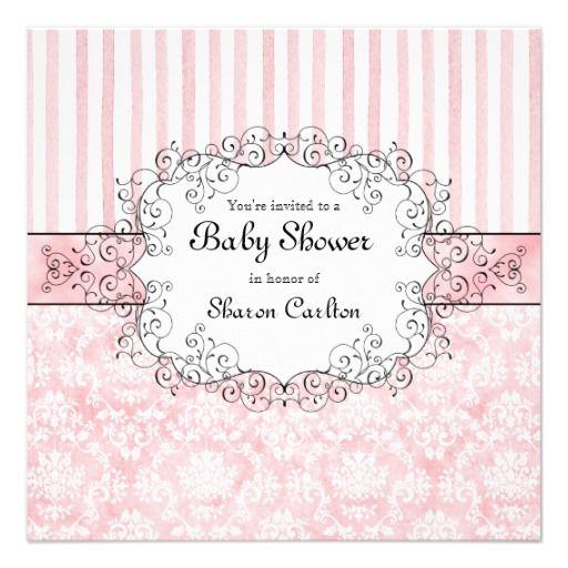 Damask Stripe Baby Girl Shower Invitation Zazzle Com Baby Shower Invites For Girl Girl Shower Invitation Girl Shower