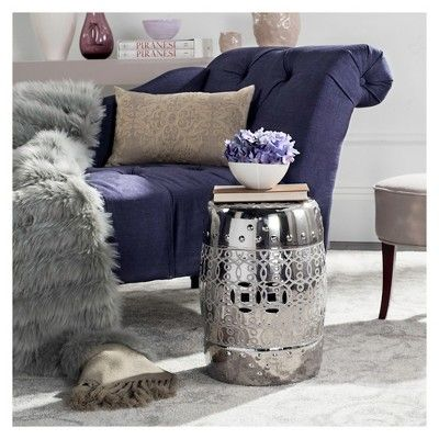 Latana Garden Patio Stool  Silver  Safavieh is part of garden Seating Prata - The metallic radiance of the Safavieh Latana Garden Stool in Silver reflects the beauty of your garden  Image a yard with ample seating where, instead of a long garden bench, you have accented little garden stools  This is a new twist on lawn decorating and it's an inspiring approach  Use these stools as a plant stand, a seat or a table  Made of ceramic, each stool is weather resistant and designed to be easy to maintain  13x13 x18   Pattern Solid