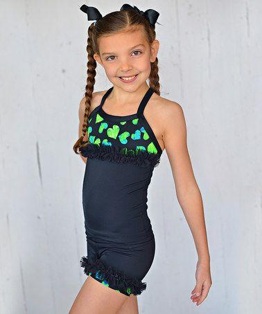 Look at this #zulilyfind! Black & Neon Heart Ruffle Tank & Shorts - Toddler & Girls by Lexi-Luu Designs #zulilyfinds