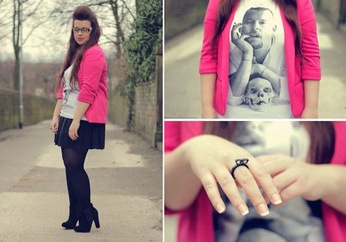 """I'm the pink sheep of the family"""" - Alexander McQueen by Victoria I.  pink cardi, graphic tee, black mini, black tights, black booties"""