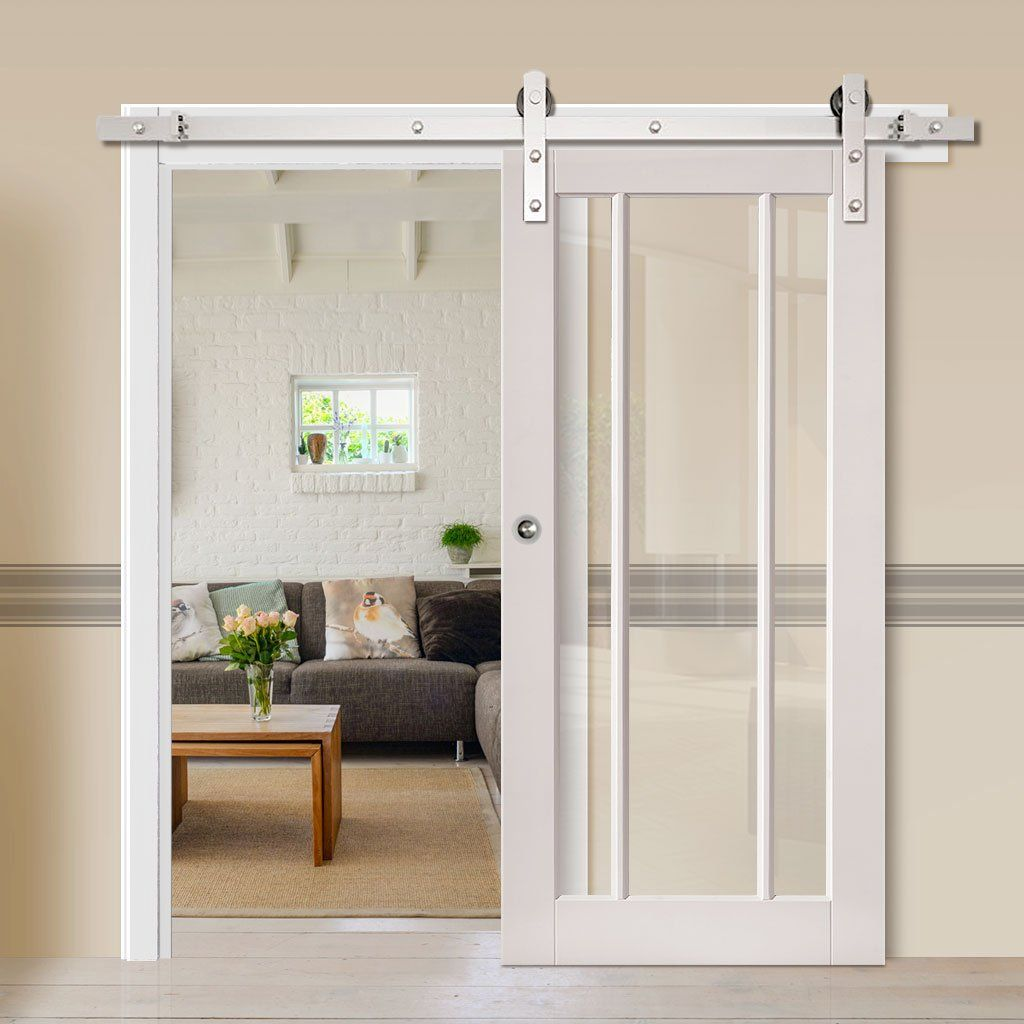 Thruslide Traditional Trinidad Shaker White Sliding Door Clear Glass Lifestyle Image Glazeddoor Slidingdoor The Doors Glazen Schuifdeur