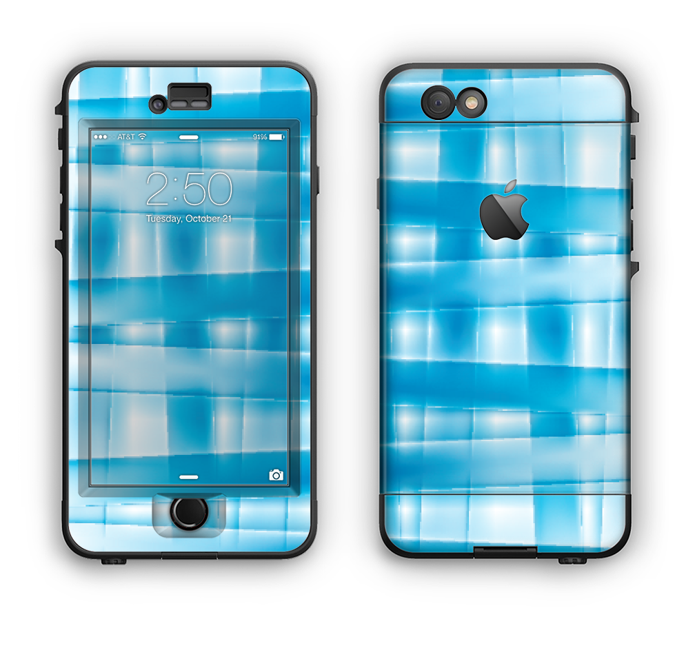 The Overlapping Blue Woven Apple iPhone 6 LifeProof Nuud Case Skin Set